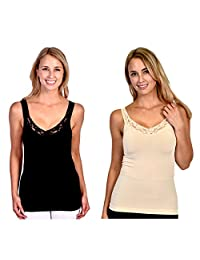 Patricia Lingerie Women's Silky Form Fit V-Neck Tank Top with Lace Trim