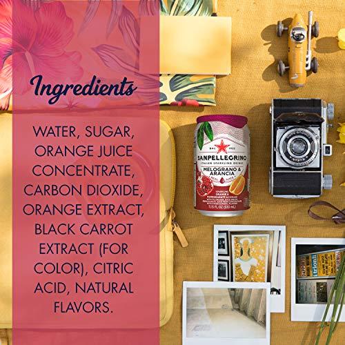 Sanpellegrino Pomegranate and Orange Italian Sparkling Drinks, 11.15 fl oz. Cans (24 Count)