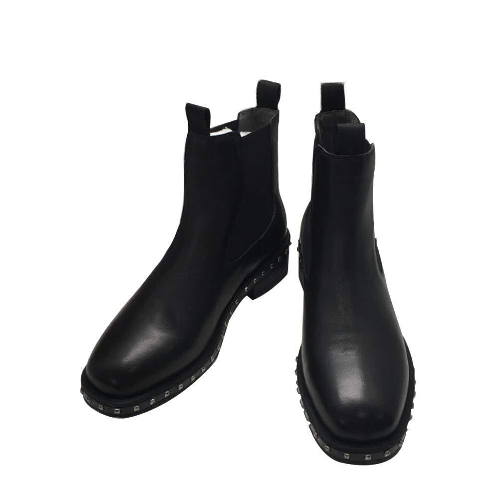 Oudan Damen Herbst Und Winter Leder Nieten Flache Flut Stiefel (Farbe   Schwarz, Größe   38EU)