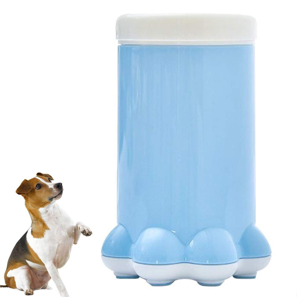 bluee 1117.2cm bluee 1117.2cm Dog Paw Washing Cup Portable Pet Silicone Foot Washer Paw Cleaner,bluee,11  17.2cm