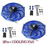 "2Pcs 12"" 12 inch Electric Radiator Engine Cooling Fan + Mounting Zip TIE KIT Blue Universal"