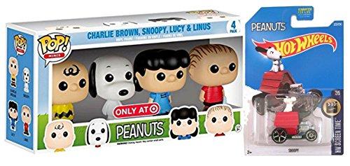 Pop! Minis Peanuts Charlie Brown, Snoopy, Lucy & Linus with Hot Wheels Snoopy Die-Form Car Bundle