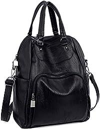 Women Backpack Purse PU Washed Leather Convertible Ladies Rucksack Crossbody Shoulder Bag