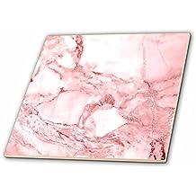 3dRose Uta Naumann Faux Glitter Pattern - Image of Chic Rose gold Marble Agate Gemstone Rock Quartz - 8 Inch Glass Tile (ct_275198_7)