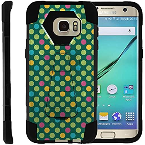 Samsung Galaxy S7 Edge, Full Body Fusion SHOCK Impact Kickstand Case with Exclusive Illustrations by Miniturtle - Colorful Dotted Pattern Sales