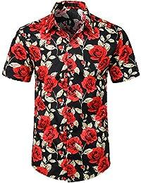 9b9061796 Summer Mens Hipster Flower Design Casual Button Down Short Sleeve Hawaiian  Shirts