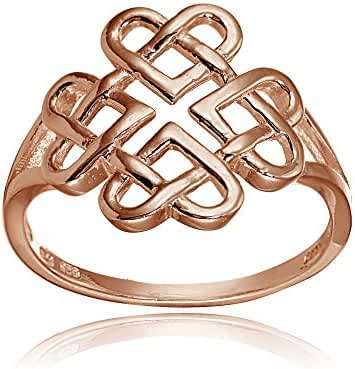 Sterling Silver High Polished Celtic Love Knot Ring Multiple Size and Metal Options