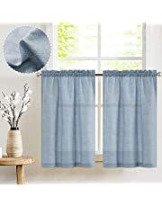 jinchan Tier Curtains Linen Textured Small Cafe Curtain Long Curtains for Kitchen Window Treatment Set 24 Inches 2 Panels Blue