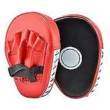 1 Pair PU Leather Punching Kicking Palm Pad Hook Jab Strike Pad Boxer Target Focus Punch Mitt Pad Boxing Mitts Gloves Curved for Training of Karate Combat Muaythai Kick Boxing UFC MMA. (Red)