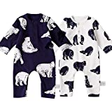 2 Pack Baby Boy Romper, Cotton Fabric Baby Boy's Bodysuit, Bear Patterns Cover Style Infant Romper 0-18M