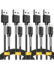 PURIDEA Charging Cable for Phone, 5Pack 2Mx2 1Mx2 0.3Mx1 Spring Protected Sturdy Syncing and Charging USB Cables Charger Cord(Black)