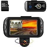 BLUEPUPILE Dash Cam 1080P Dual Lens Dashboard Camera Recorder 170° Wide Angle Lens 3 LCD Screen GPS