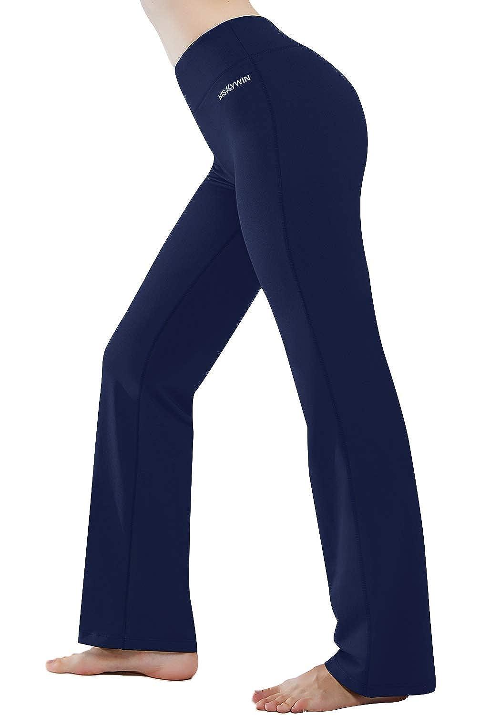 Navy bluee HISKYWIN Inner Pocket Yoga Pants 4 Way Stretch Tummy Control Workout Running Pants, Long Bootleg Flare Pants