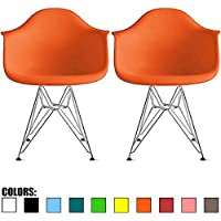 2xhome –Set of 2 Plastic Armchair with Eiffel Legs Dinning Chair Eames Style Molded Plastic Wire Chair Base (DAR) Legs (Orange)