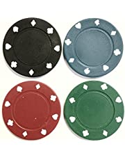 100 x POKER ROULETTE CASINO CHIPS - SUITED DESIGNS IN 5 COLOURS