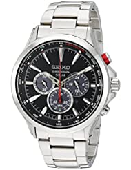 Seiko Mens SOLAR CHRONOGRAPH Quartz Stainless Steel Casual Watch, Color:Silver-Toned (Model: SSC493)