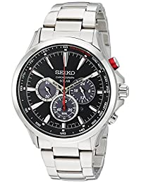 Seiko Men's 'SOLAR CHRONOGRAPH' Quartz Stainless Steel Casual Watch, Color:Silver-Toned (Model: SSC493)