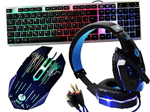 Kit Gamer Haiz Teclado Mouse Fone Headset 5.1 Led Hz22