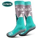 OutdoorMaster Kids Ski Socks - Merino Wool Blend, OTC Design w/Non-Slip Cuff