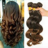Wigsforyou@Brazilian Human Hair Ombre Hair Extensions Body Wave Mixed Color 7A Grade 1 Bundles/lot 50g Total #T4/30 by Wigsforyou