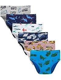 100% Cotton Little Boys Briefs Soft Dinosaur Truck Toddler Underwear
