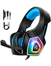 Gaming Headset for PS4 Xbox One, TEUMI Over-Ear Gaming Headphones with Noise Canceling Mic, LED Light, Volume Control & Soft Memory Earmuffs for PC Laptop Mac Nintendo Switch Games