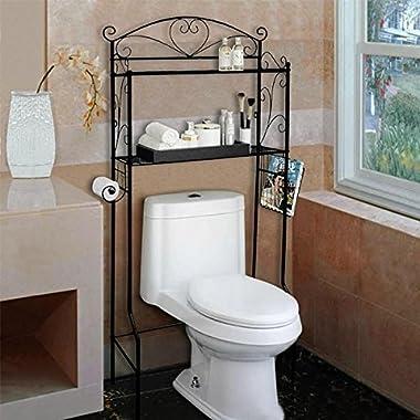 VDOMUS Bathroom Shelf Space Saver Over the Toilet Wire Shelves Storage Organizer, 2 Tier, Black