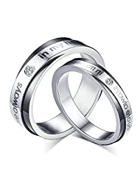 "Daesar 2 X Wedding Rings with Engraved ""You Are Always in My Heart"" Silver Rings Cubic Zirconia 5MM / 6MM"