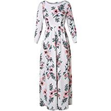 Rising ON Printed Long Dress Three Quarter Sleeve Empire Flower Floor-length