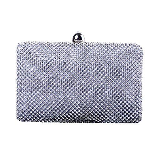 Boddenly Women Girls Handmade Dinner Party Evening Bag Luxury Diamond Hand Bag Christmas gift for Wife Lover (silver 1)