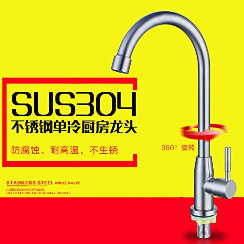 304 Red-crowned Crane Big Bend (460g) Stainless Steel 304 Kitchen Single Cold Faucet Sink Sink Dish Sink Faucet 304 Single Cold Seven Characters (520 G)