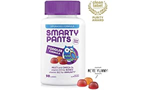 SmartyPants Toddler Formula Daily Gummy Vitamins: Gluten Free, Multivitamin & Omega 3 Fish Oil (DHA/EPA), Methyl B12, Vitamin D3, Vitamin B6, 90 Count (30 Day Supply) - Packaging May Vary
