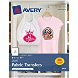 """Avery T-Shirt Transfers for Inkjet Printers, For Light Fabric, 8.5"""" x 11"""", 6 Transfers (3271), Clear"""