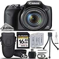 Canon PowerShot SX530 HS Digital Camera Black + Battery Pack NB 6LH + 16GB Class 10 Memory Card + Card Reader + Mini Tripod + Carrying Case. All Original Accessories Included - International Version