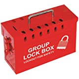 Lockout Safety Supply 7299R-UN Group Lockout Tagout Box, Portable, Steel, Red