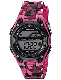 Armitron Sport Women's 45/6984CPK Digital Chronograph Magenta and Black Camouflage Resin Strap Watch