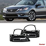 VioGi 2pcs Aftermarket JDM Clear Lens Fog Lights Kit With Light Bulbs+Cover+Switch+Wiring Harness+Relay+Bracket & Necessary Mounting Hardware For 2013-2015 Honda Accord 4-Door Sedan Model by VioGi