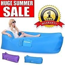 Inflatable Lounger, Hangout Sofa Air Chair Great Home Air Lounger Inflatable Chair Easy Inflate Air Sofa Lazy Lounger Inflatable Couch - 1 YEAR WARRANTY, Hangout Bag