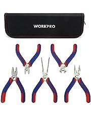 WORKPRO 5 Piezas Mini alicates de precisión, acero al carbono, Asa bimaterial, bolsa de almacenamiento