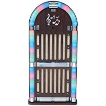 Sylvania SRCD806 Wooden Bluetooth Jukebox Speaker System with Multi Color Lights