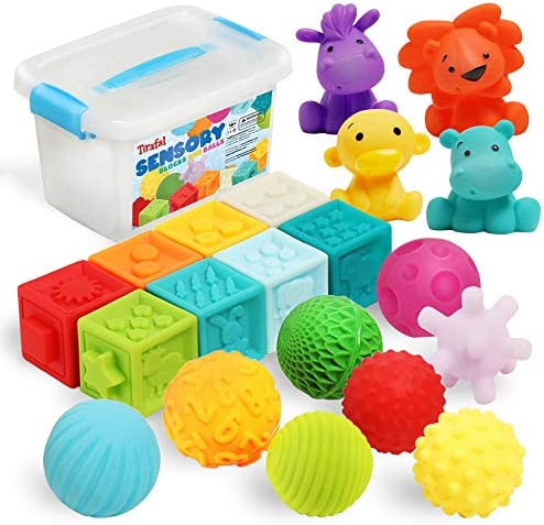 Baby Blocks & Balls Soft Building Stacking Block 20Pack, Bath Toys for Toddlers 6-12 Months and Up, Sensory Montessori Teething Toy for Little infant Boys & Girls with Numbers Animals Shapes Textures.