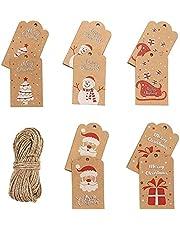 500pcs Kerst Tags Kerst Tags Hang Labels Kerst Papier Tags Kraft Gift Tags Kerst Ambachten Supply Pre-geslagen met Gaten met Touw Vakantie Feestartikelen