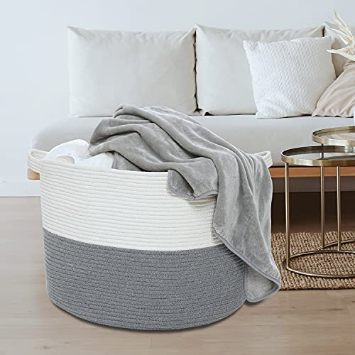 Cotton Rope Laundry Hamper,21.7''×21.7''×13.8'' XXL Woven Basket with Lids,Extra large Round Decorative Blanket Storage for Living Room,Nursery, Toy Bin for Kids
