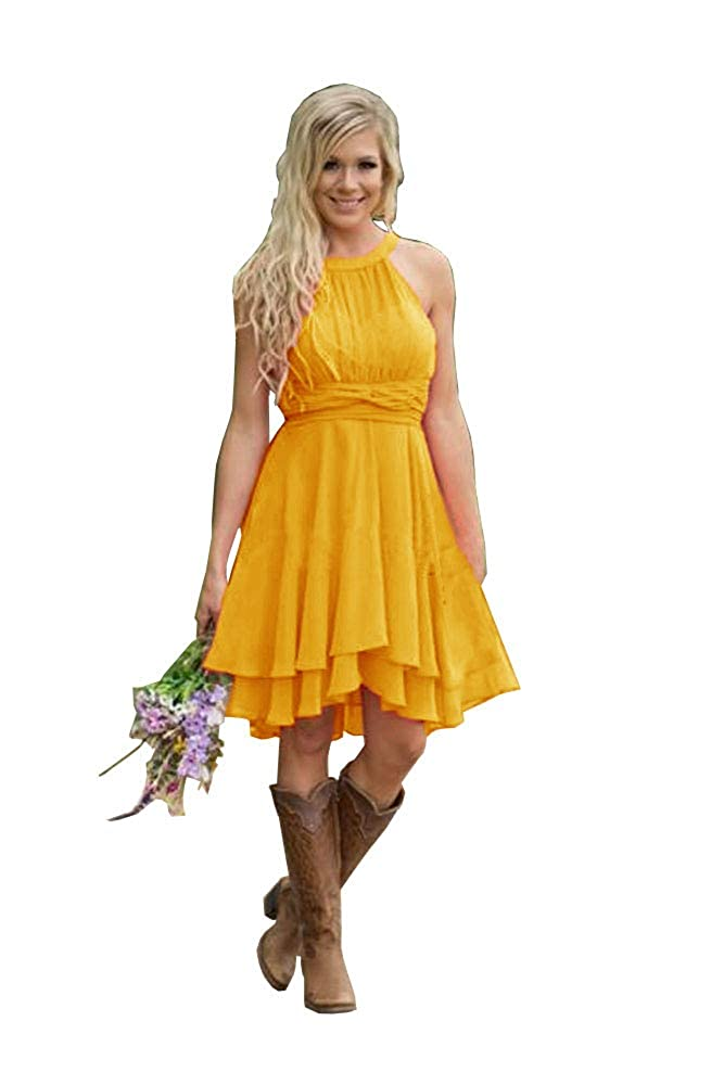 Sunset Yellow FJMM HiLo Prom Dress 2 Layers Pleated Bridesmaid Gown for Beach Wedding