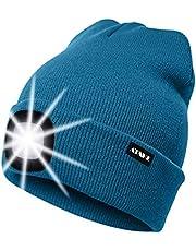 ATNKE LED Verlichte Beanie Cap, USB Oplaadbare Running Hat Ultra Bright 4 LED Waterproof Light Lamp en Knipperend Alarm Koplamp Meerkleurig