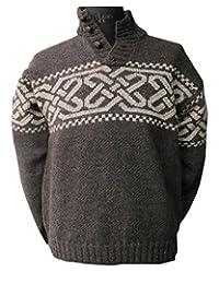 Celtic Sweater Irish Wool Grey Made in Ireland
