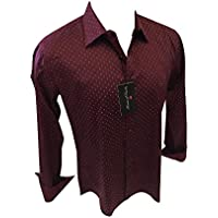 Men's House of Lords Designer Long Sleeve Button Down Shirt Burgundy Geometric Pattern 2002 #157
