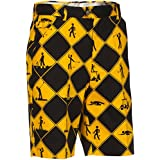 Royal and Awesome Swing Under Construction Patterned Mens Golf Shorts, 38inch Waist,Swing Under Construction