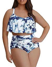 fd37ce5e2a Womens Plus Size Swimwear Peplum Tankini Tops Tummy Control Floral Retro  Swimsuits