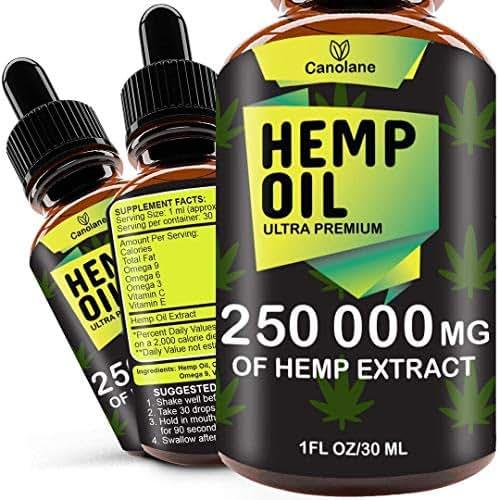 Hemp Oil Drops, 250 000 mg, Natural CO2 Extracted, 100% Organic, Pain, Stress, Anxiety Relief, Reduce Insomnia, Vegan Friendly, Zero CBD, Zero THC